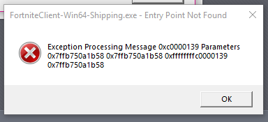 FortniteClient-Win64-Shipping.exe Entry Point Not Found error fix